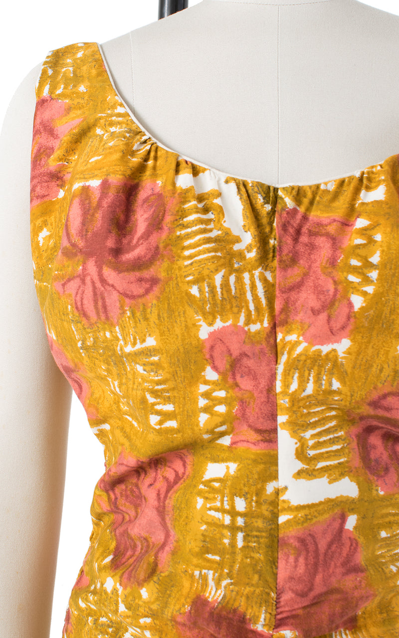 1960s Floral Ruched Smocked Mustard Yellow Swimsuit | medium/large