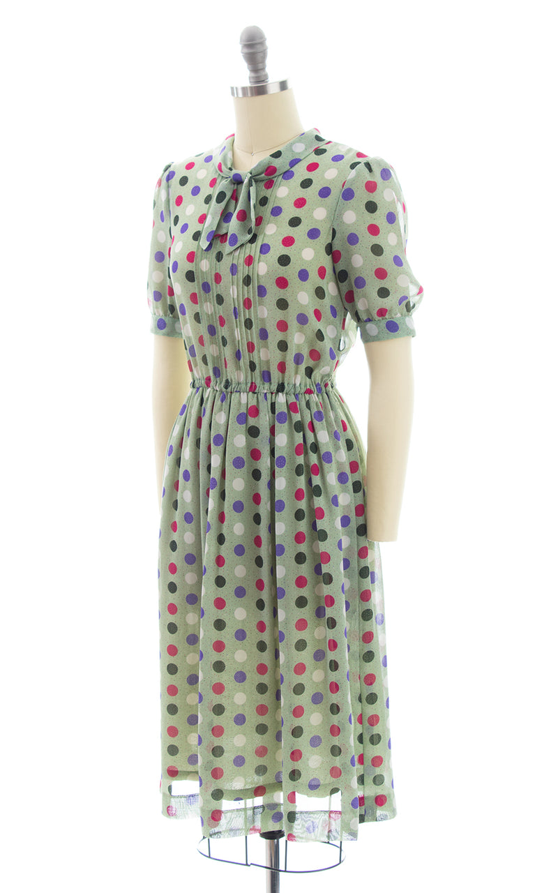 1980s Polka Dot Secretary Dress