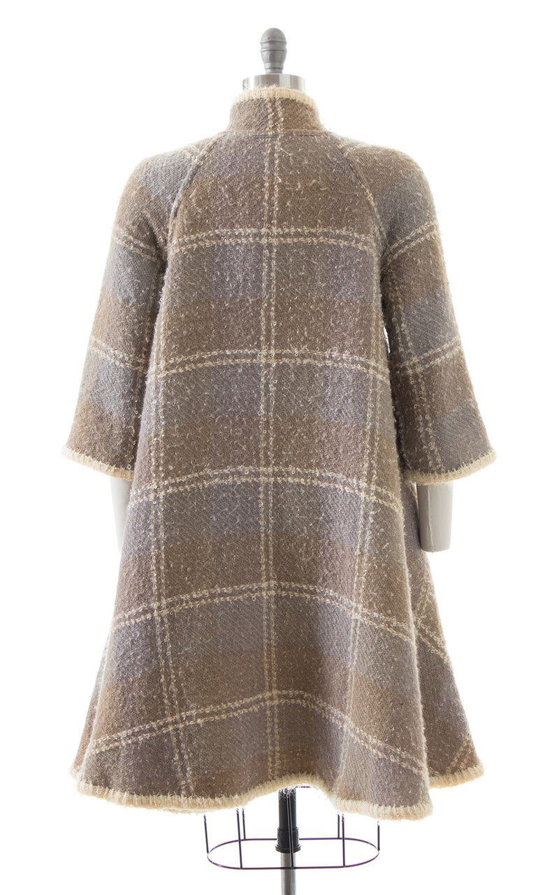 1960s Reversible Bouclé Wool Plaid & Cream Swing Coat