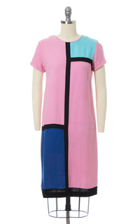 1960s Mondrian Inspired Color Block Shift Dress