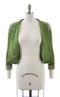 1950s Floral Beaded Green Knit Wool Cardigan