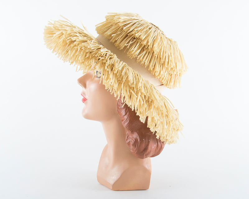 1960s Straw Fringe Beach Hat | small/medium