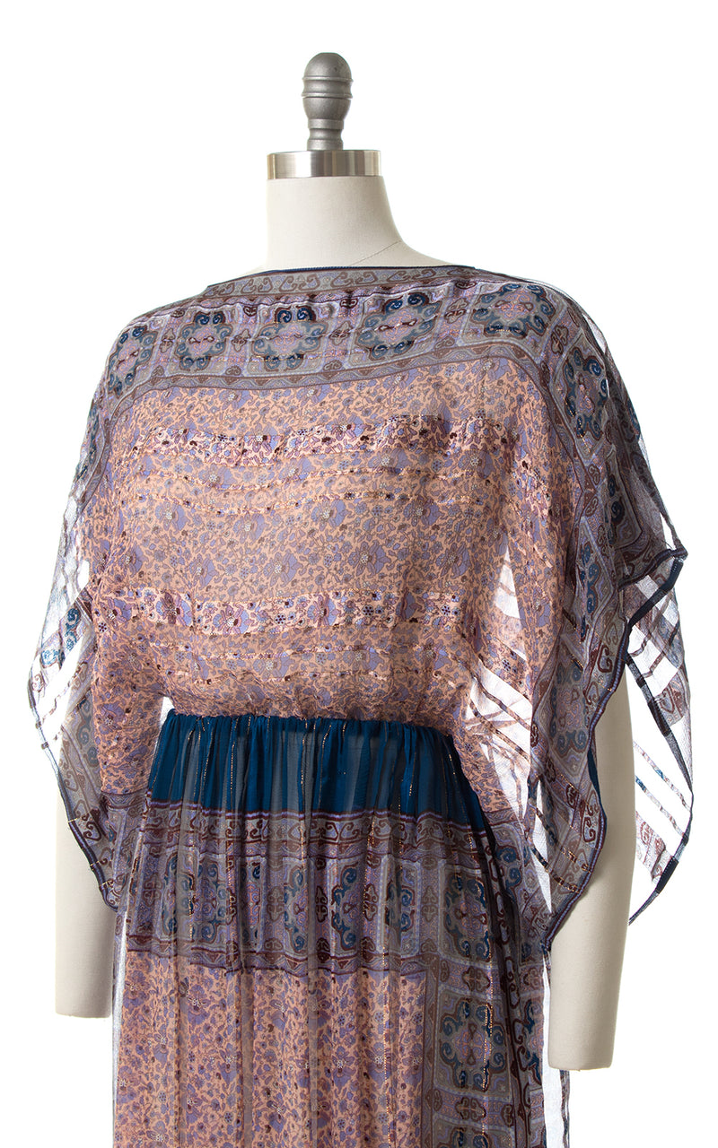 1980s Sheer Floral Silk Boxy Sleeve Dress