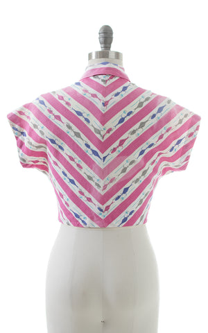 1950s Triton Novelty Print Cropped Blouse | small/medium