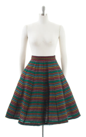 1950s Rainbow Striped Wool Skirt | small