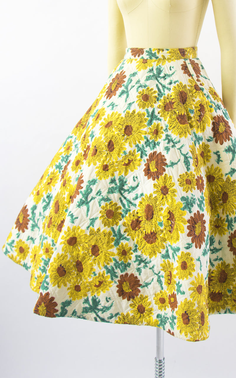 1950s Sunflower Quilted Cotton Skirt with Pockets | x-small