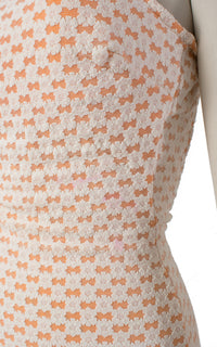 SOLD || 1960s Lace Overlay Orange Open Back Swimsuit | small