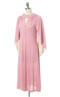 1970s Pink Jersey Knit Open Back Draped Cape Dress