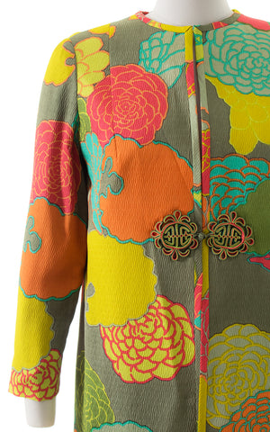 1960s Silk Floral Duster Jacket