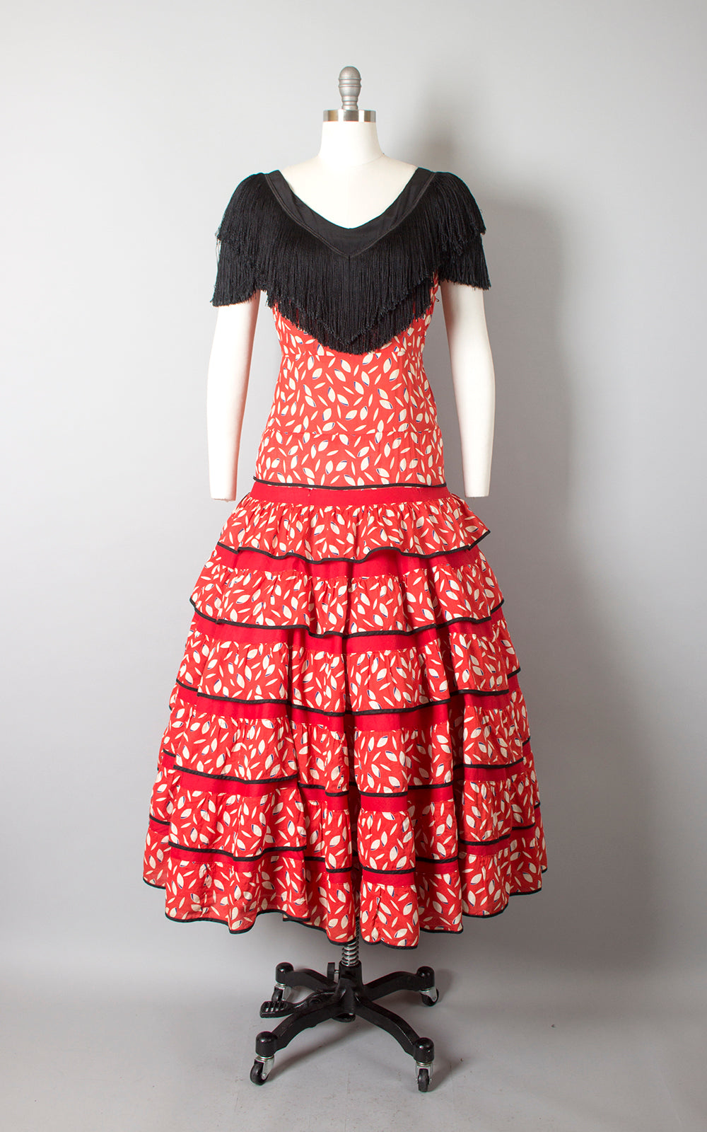 1940s Spanish Flamenco Red Fringe Tiered Circle Skirt Dress | medium