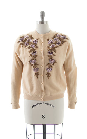 1950s Floral Sequin Beaded Wool-Angora Cardigan BirthdayLifeVintage