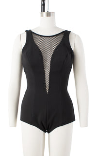 1960s Plunging Mesh Black Open Back Swimsuit