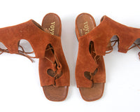 1960s 1970s Brown Suede Lace Up Gladiator Sandals | size 7.5