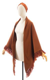 1970s Fringed Burnt Orange Knit Shawl