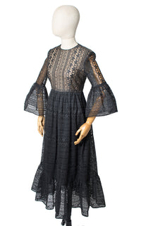 1960s Nude Illusion Lace Bell Sleeve Dress