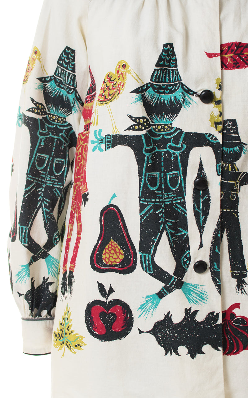 1950s Scarecrow Novelty Print Top