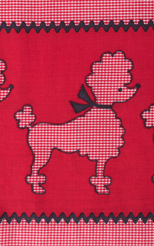 ♦ SOLD ♦ 1950s Poodle Novelty Border Print Red Cotton Skirt | medium