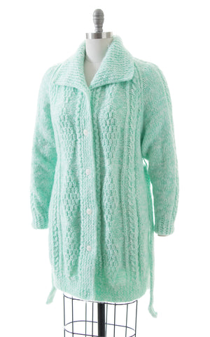1970s Mint Chunky Knit Belted Sweater Coat