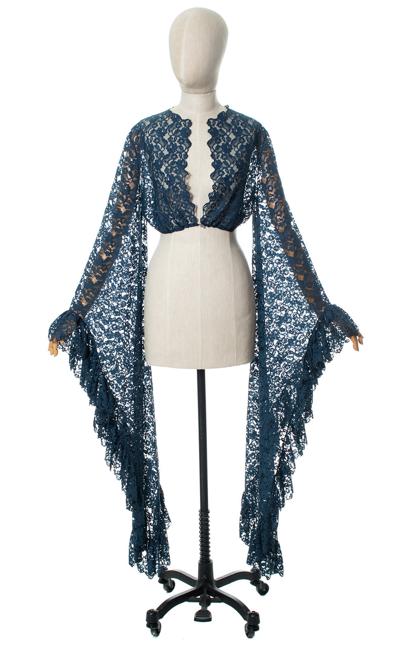 1970s Blue Lace Ruffled Angel Sleeve Top