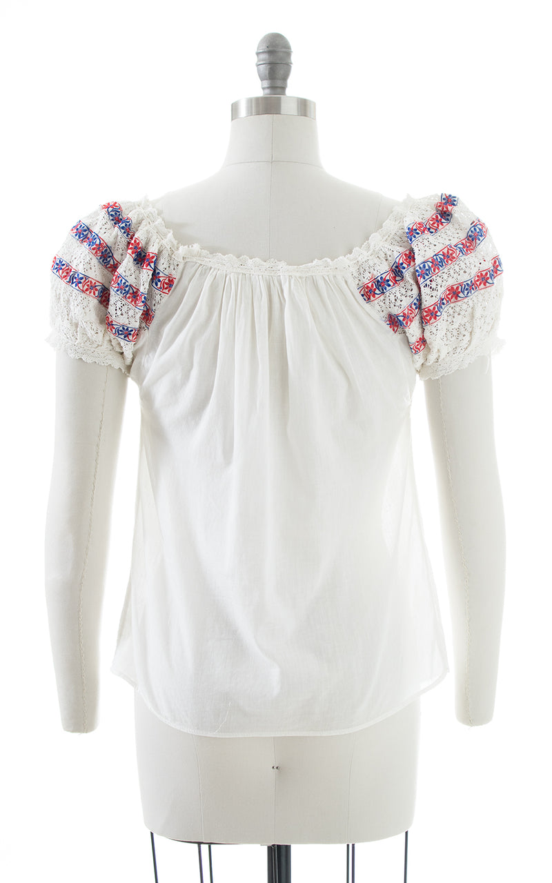 1970s Crochet Puff Sleeve Cotton Peasant Top | medium