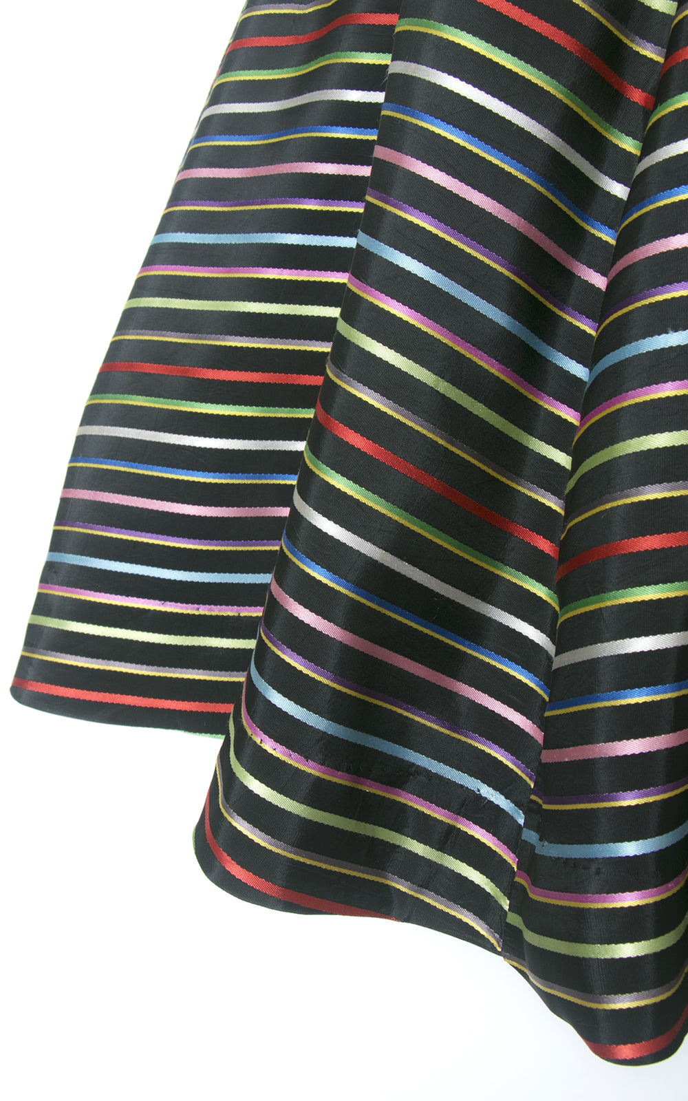 1950s Rainbow Striped Black Taffeta Skirt | medium