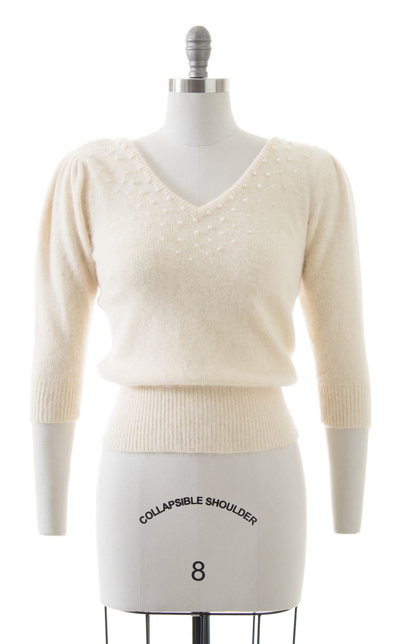 1980s Beaded Puff Sleeve Wool Angora Knit Sweater