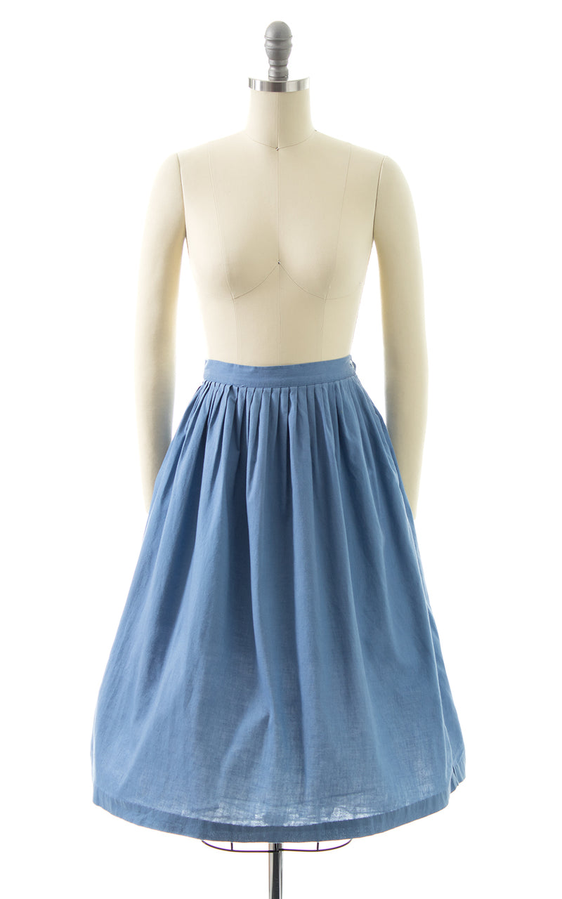 1950s Periwinkle Blue Cotton Skirt