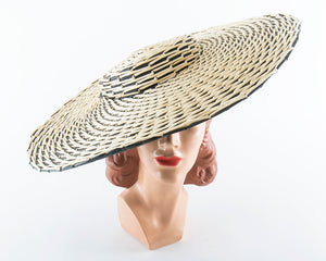 ♦ SOLD ♦ 1950s Straw Pinwheel Wide Brim Sun Hat