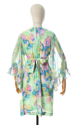 1970s Deadstock Green Floral Angel Sleeve Dress