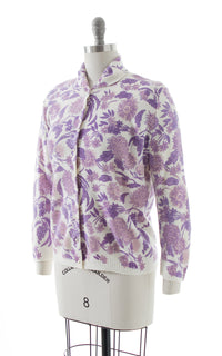 1950s Purple Floral Cardigan BirthdayLifeVintage