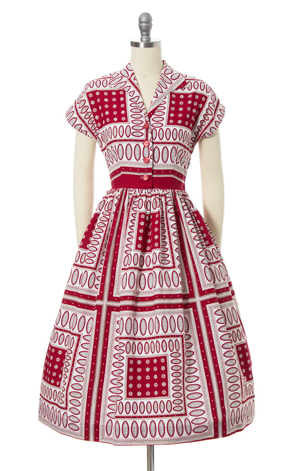 1950s Brentwood Geometric Printed Cotton Shirt Dress