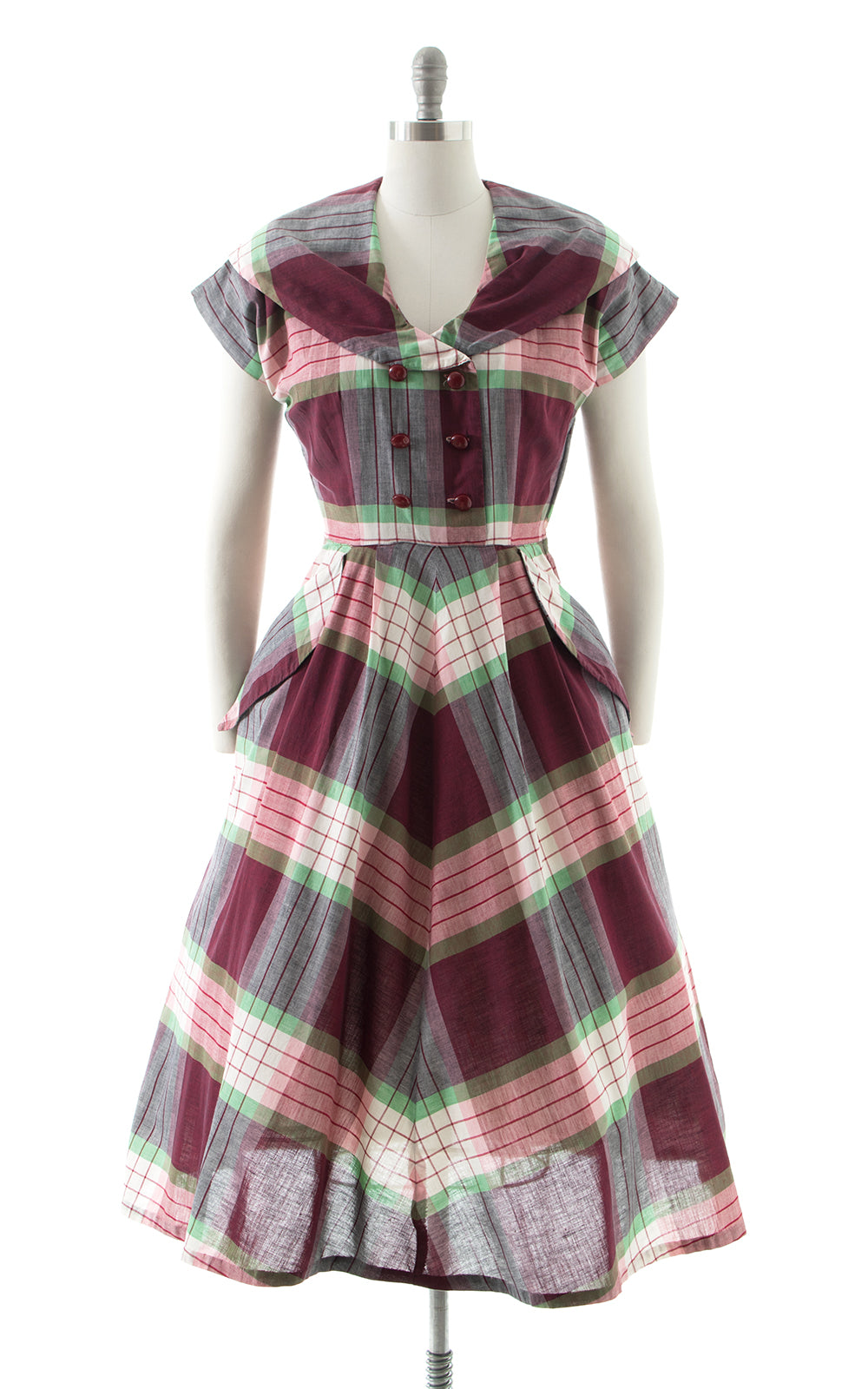 1950s Plaid Cotton Shirtwaist Dress BirthdayLifeVintage