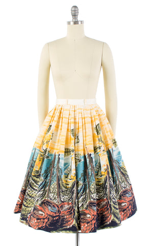 1950s Windmill Seascape Novelty Border Print Cotton Skirt | x-small