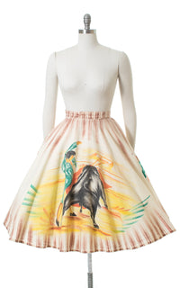 1950s Bullfighter Novelty Print Hand-Painted Mexican Circle Skirt