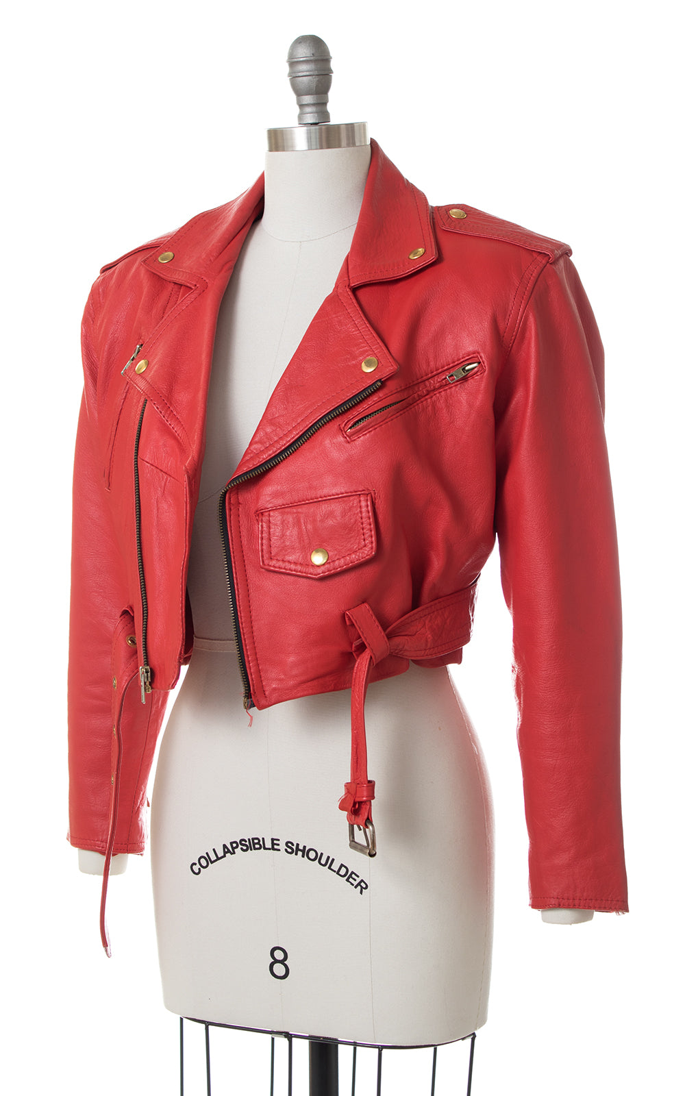 1980s Red Leather Motorcycle Jacket