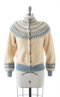1950s Fair Isle Knit Wool Cardigan