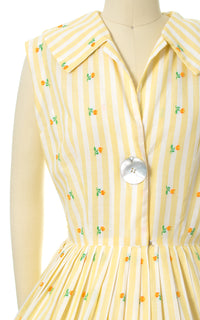 1950s Floral Striped Sundress with Big Abalone Button