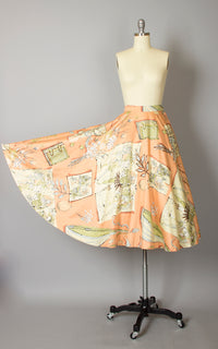 1950s Peach Floral Music Novelty Print Cotton Circle Skirt | small