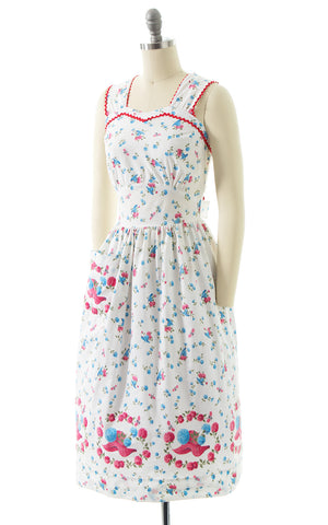 1940s Hat Bee Floral Novelty Border Print Cotton Sundress