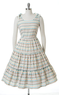 1950s Sailor Novelty Print Tiered Cotton Sundress