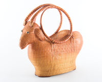 Vintage Ram Novelty Wicker Basket Purse