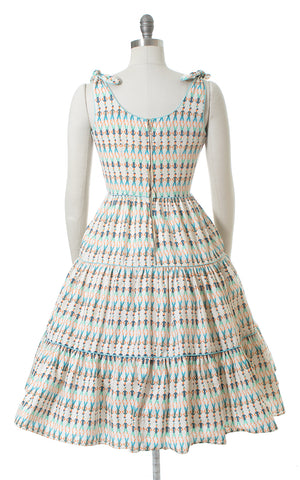 1950s Sailor Novelty Print Tied Straps Sundress