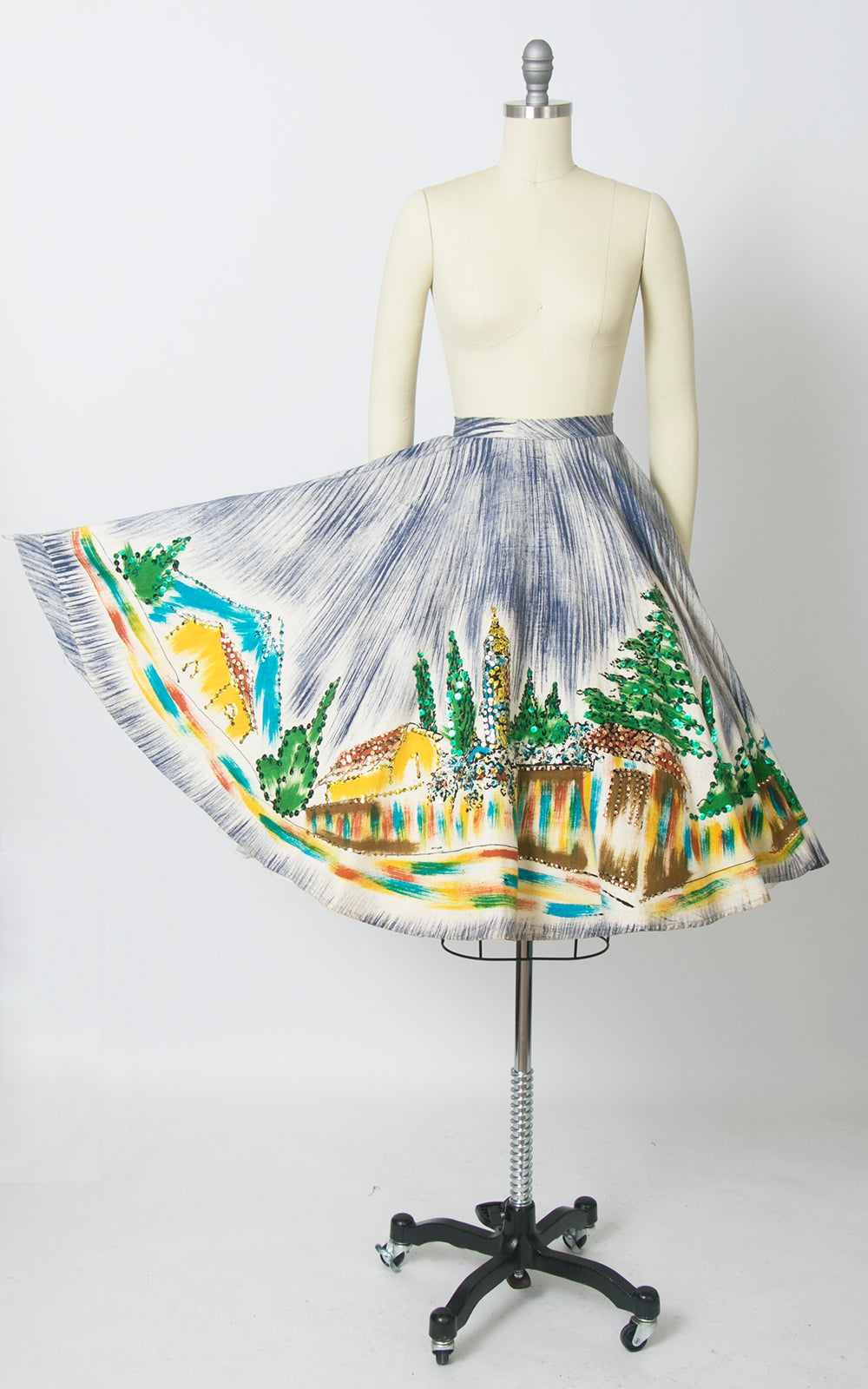 1950s Mexican Hand-Painted Novelty Print Sequin Circle Skirt | x-small
