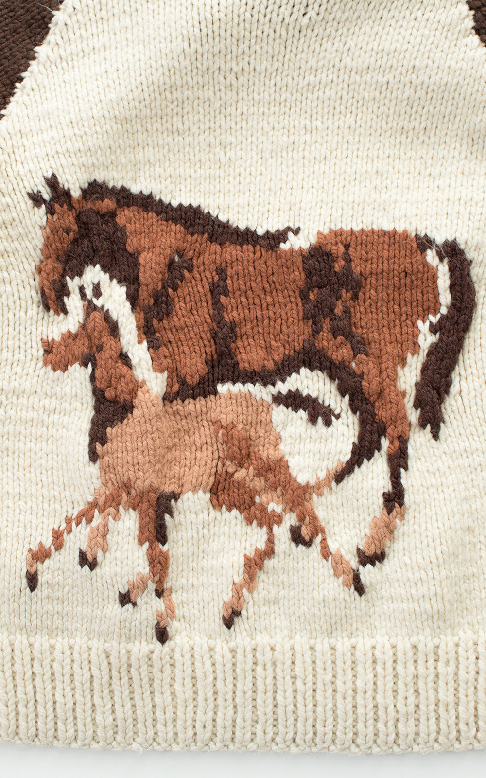 SOLD || 1970s Lucky Horseshoe & Horses Novelty Wool Cowichan Cardigan | medium/large