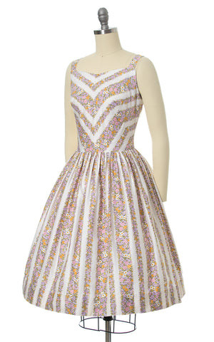 1950s Floral Chevron Striped Cotton Sundress