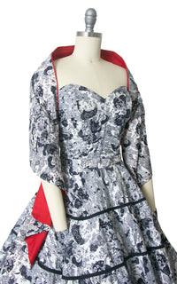 1950s Asian Novelty Print Strapless Sundress and Wrap Set | small