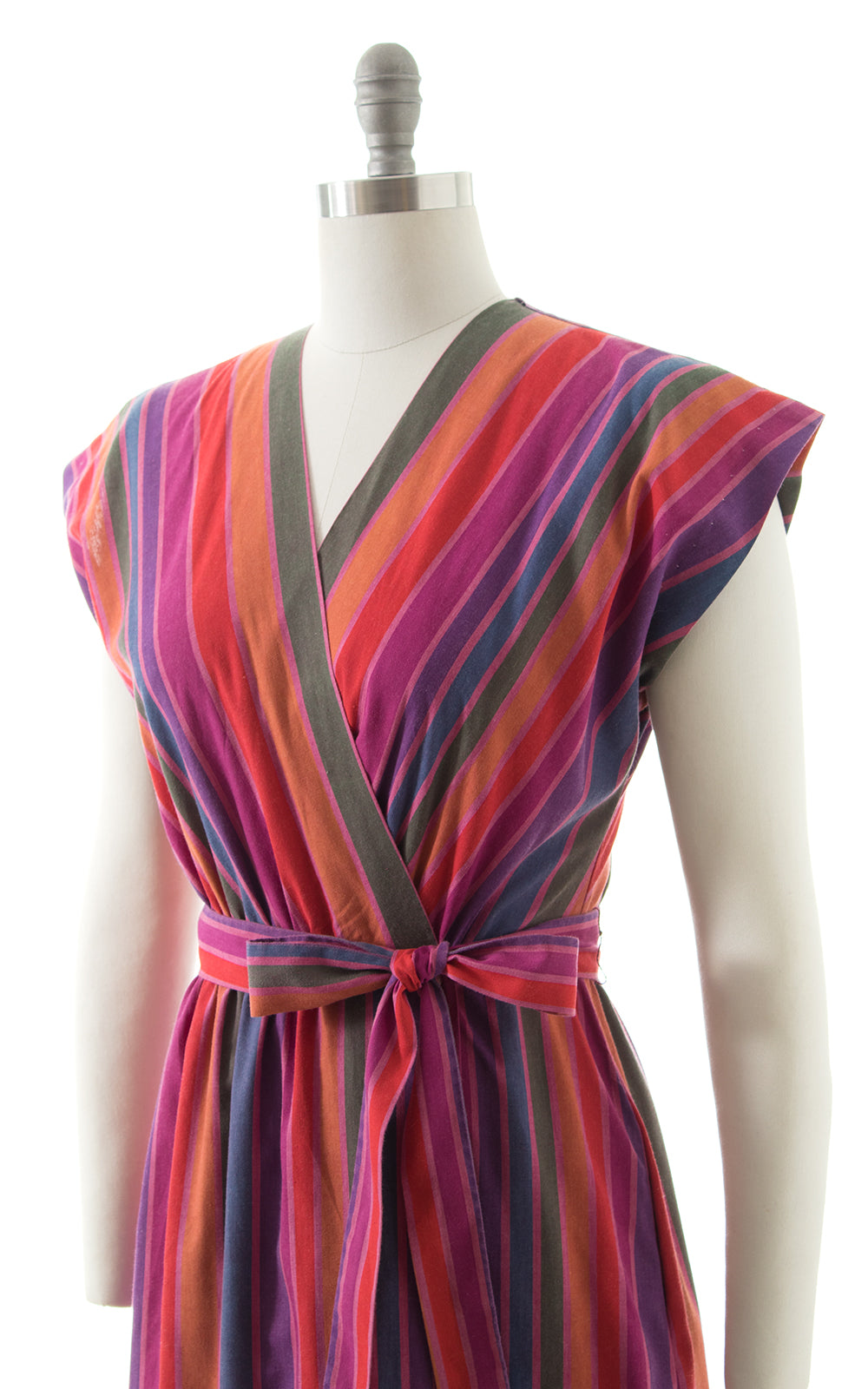 1970s Rainbow Striped Cotton Wrap Dress BirthdayLifeVintage