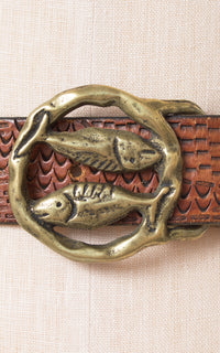 1970s Pisces Astrology Tooled Leather & Brass Belt