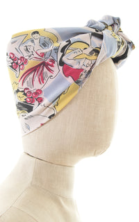 1940s Evening Dance Novelty Print Scarf