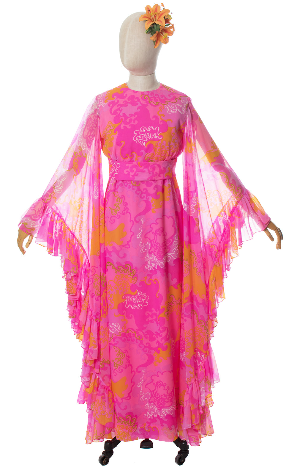 1960s Psychedelic Chiffon Ruffled Angel Sleeve Maxi Dress